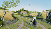 Naive Paintings - Summer Cycling by Peter Szumowski