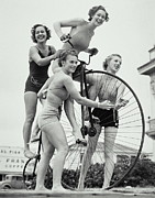 Women Only Framed Prints - Summer Cyclists Framed Print by Archive Holdings Inc.
