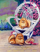 Pomeranian Framed Prints - Summer Day - Pomeranian Framed Print by Lyn Cook