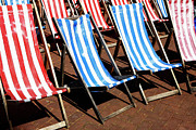 Blue Cobblestone Prints - Summer Deck Chairs Print by Richard Newstead