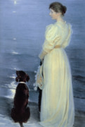Pet Dogs Prints - Summer Evening at Skagen Print by Peder Severin Kroyer