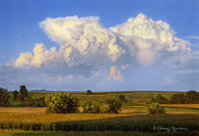 Landscape Drawings Posters - Summer Evening Formations Poster by Bruce Morrison