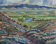 Wyoming Paintings - Summer Evening in the River Valley by Dawn Senior-Trask
