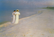 Skagen Prints - Summer Evening on the Skagen Southern Beach with Anna Ancher and Marie Kroyer Print by Peder Severin Kroyer