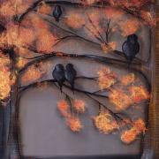 Crows Paintings - Summer Evenings by  Abril Andrade Griffith