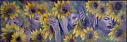 Faces Paintings - Summer fantasy by Dorina  Costras