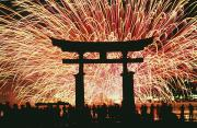 Silhouetted Metal Prints - Summer Fireworks At Itsukushima Shrine Metal Print by Axiom Photographic