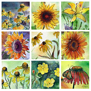 Watercolor Artist Prints - Summer Flowers II Print by MaryAnn Cleary