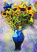 Blue Vase Painting Posters - Summer Flowers in Blue Vase Poster by Ernestine Grindal