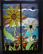Sunflowers Glass Art - Summer Flowers by Liz Shepard