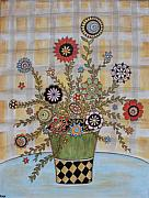 Modern Folk Art Paintings - Summer Flowers by Rain Ririn