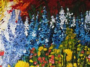 Pallet Knife Prints - Summer Flowers Print by Shilpi Singh
