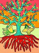 Invitations Paintings - Summer Flowers Tree Of Life by Jennifer Fayth