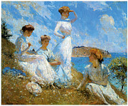 Ocean Shore Framed Prints - Summer Framed Print by Frank Weston Benson