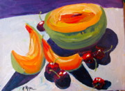Cantaloupe Paintings - Summer Fruit by Joan Ryan