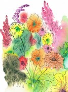 Watercolor And Ink Paintings - Summer Garden by Christine Crawford