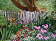Pein Air Painting Prints - Summer Garden Print by Louise Roy