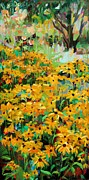 Yellow Flowers Painting Prints - Summer Garden  plein air Print by Marie Massey