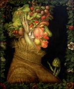 Grapes Painting Framed Prints - Summer Framed Print by Giuseppe Arcimboldo