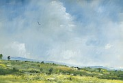 Landscape Prints Prints - Summer hawk over Brading down Print by Alan Daysh