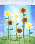 Healing Paintings - Summer Healing Daisies by Renee Womack