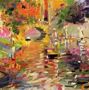 Gondolas Paintings - Summer Heat by Peter Graham