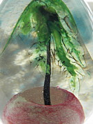 Egg Glass Art - Summer in Blown Glass Tree in Pink Sand by Judy Via-Wolff