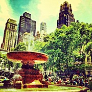 Skyline Framed Prints - Summer in Bryant Park Framed Print by Luke Kingma