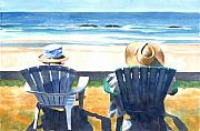 Family Print Paintings - Summer in Lincoln City by Melody Cleary