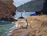 Sunbathing Paintings - Summer in Spain by Andrew Macara