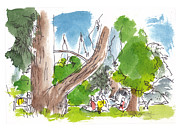 Garden Scene Drawings Posters - Summer in the Garden Poster by Marilyn MacGregor
