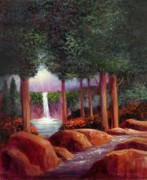 Waterfalls Paintings - Summer In The Garden of Eden by Randy Burns
