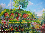 The Lord Of The Ring Painting Framed Prints - Summer In The Shire Framed Print by Joe  Gilronan