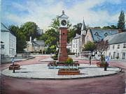 Town Square Painting Posters - Summer in the square Poster by Andrew Read
