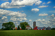 Enclosure Prints - Summer Iowa Farm Print by Bill Tiepelman
