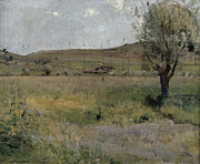 Paysage Paintings - Summer landscape by Jules Bastien-Lepage
