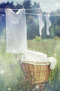 Drying Laundry Posters - Summer laundry drying on clothesline Poster by Sandra Cunningham