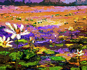 Lotus Pond Framed Prints - Summer Lotus Pond Impressionist Mixed Media Art Framed Print by Ginette Callaway