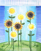 Rays Paintings - Summer Love Daisies by Renee Womack