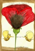Poppy Drawings Prints - Summer Love Print by Sibel Kantola