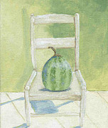 Ladderback Chair Paintings - Summer Melon by Laurel Porter-Gaylord