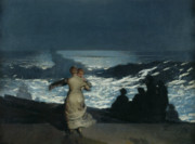 Couple Hugging Posters - Summer Night Poster by Winslow Homer