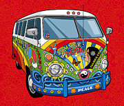 Vw Van Prints - Summer of Love Print by Ron Magnes