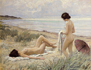 Woman Painting Prints - Summer on the Beach Print by Paul Fischer