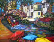 Riverwalk Posters - Summer On The River Poster by Patti Schermerhorn
