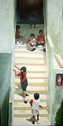 Stairs Painting Posters - Summer on the Steps Poster by Alan Schwartz