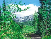 Mountains Painting Posters - Summer Paradise Poster by Barbara Jewell