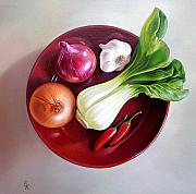 Onion Paintings - Summer plate 2 by Elena Kolotusha