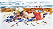 Beach Towel Prints - Summer Pleasures Print by Sherry McCourt