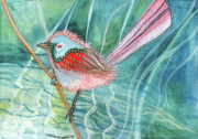 Wren Paintings - Summer Pond Daydreams by Lesley Smitheringale